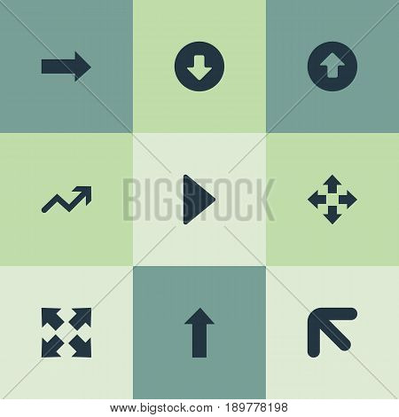 Vector Illustration Set Of Simple Cursor Icons. Elements Advancement, Right Landmark, Outside Synonyms Arrowheads, Upwards And Outward.