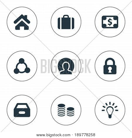 Vector Illustration Set Of Simple Trade Icons. Elements Home, Padlock, Dossier And Other Synonyms Cooperation, Dollar And Pay.