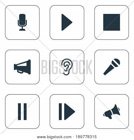 Vector Illustration Set Of Simple Volume Icons. Elements Stop, Audition, Play And Other Synonyms Listening, Stage And Loudspeaker.