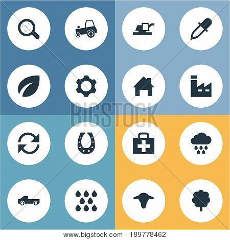 Vector Illustration Set Of Simple Agricultural Icons. Elements Watering, Wood, Forecast And Other Synonyms Medical, Luck And Buffalo.