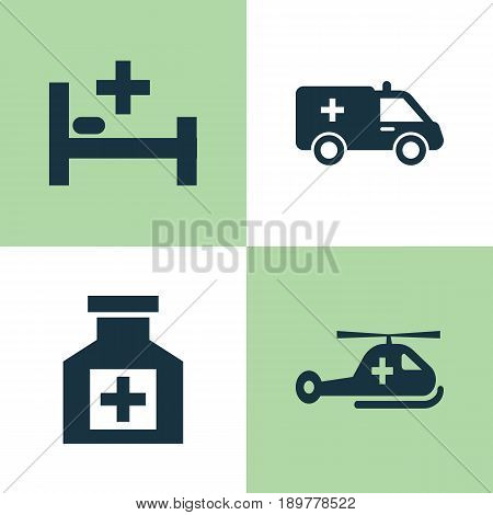 Antibiotic Icons Set. Collection Of Copter, Tent, Painkiller And Other Elements. Also Includes Symbols Such As First-Aid, Reliever, Tent.