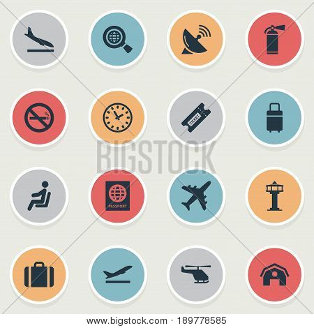 Vector Illustration Set Of Simple Travel Icons. Elements Travel Bag, Watch , Handbag Synonyms Plane, Garage And Satelite.