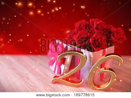 birthday concept with red roses in the gift on wooden desk. 3D render - twenty-sixth birthday. 26th