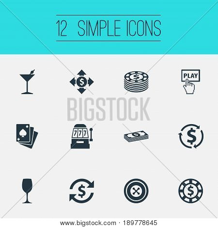Vector Illustration Set Of Simple Poker Icons. Elements Cash, Income, Chip And Other Synonyms Income, Poker And Alcohol.