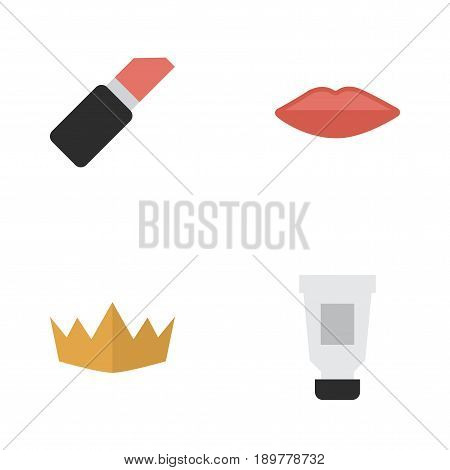 Vector Illustration Set Of Simple Beauty Icons. Elements Crown, Lips, Toothpaste And Other Synonyms Cosmetic, Pomade And Kiss.