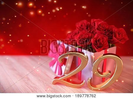 birthday concept with red roses in the gift on wooden desk. 3D render - twenty-nineth birthday. 29th