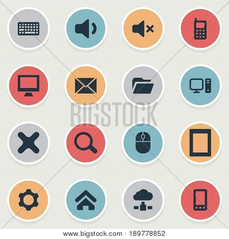 Vector Illustration Set Of Simple Laptop Icons. Elements Keypad, Cross, Letter And Other Synonyms Close, Phone And Tablet.