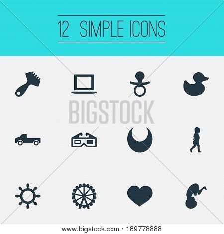 Vector Illustration Set Of Simple Child Icons. Elements Simple PC, Pickup Car, Feeder And Other Synonyms Car, Fetus And Dummy.