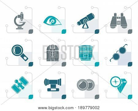 Stylized Optic and lens equipment icons - vector icon set