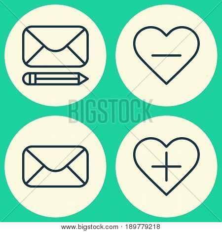 Network Icons Set. Collection Of Edit Mail, Unfollow Icon, Add To Favorites And Other Elements. Also Includes Symbols Such As Mailing, Follow, Delete.