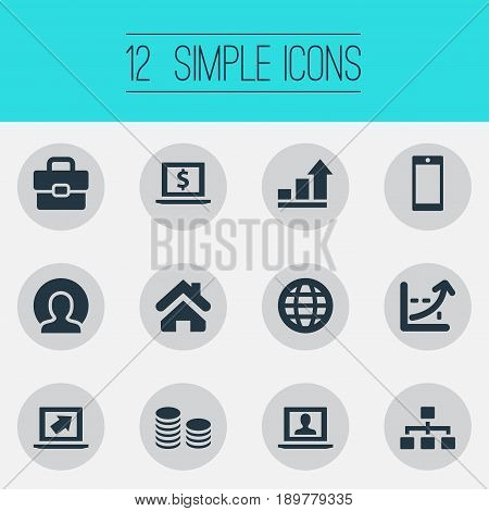 Vector Illustration Set Of Simple Job Icons. Elements World, Increase, Analytical Report And Other Synonyms Organisation, Portfolio And Report.