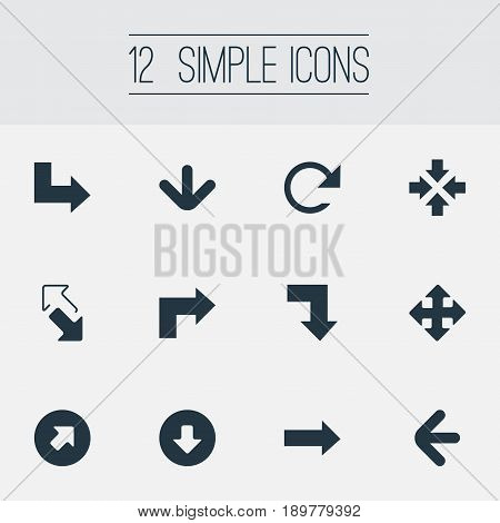 Vector Illustration Set Of Simple Cursor Icons. Elements Pointer, Within, Way-Down And Other Synonyms Inside, Refresh And Upload.