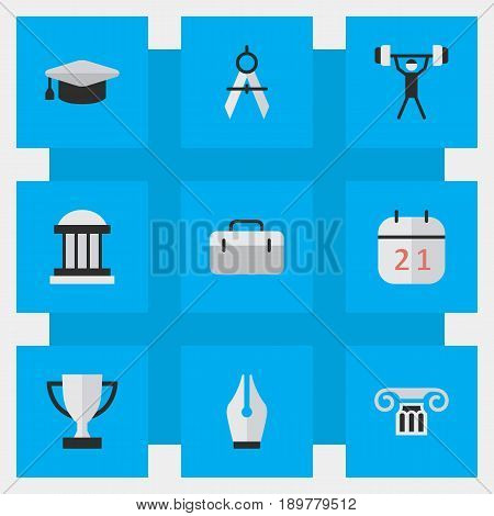 Vector Illustration Set Of Simple Knowledge Icons. Elements Column, Academic Hat, Bodybuilding And Other Synonyms Almanac, Suitcase And Weight.