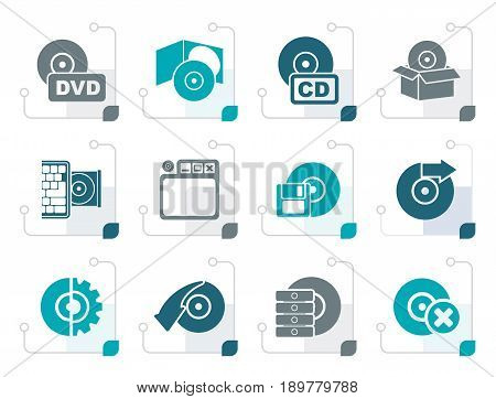 Stylized Computer Media and disk Icons - vector icon set