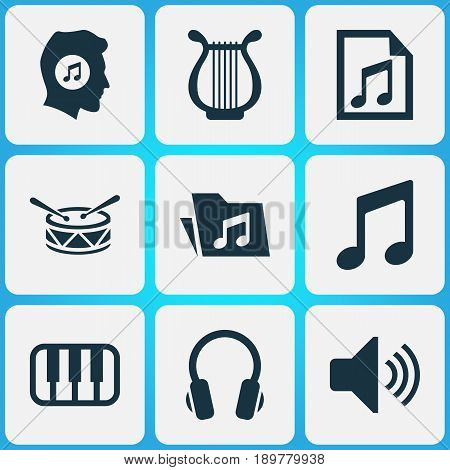 Audio Icons Set. Collection Of Earphone, Lyre, Sound And Other Elements. Also Includes Symbols Such As Drum, Octave, Playlist.