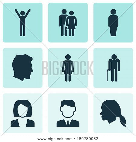 Person Icons Set. Collection Of Member, Female, Gentlewoman Head And Other Elements. Also Includes Symbols Such As Old, Man, Businessman.