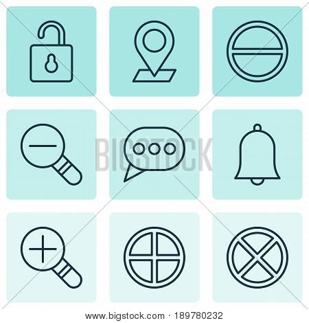 Network Icons Set. Collection Of Positive, Zoom Out, Unlock And Other Elements. Also Includes Symbols Such As Positive, Bubble, Plus.