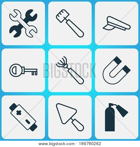 Instrument Icons Set. Collection Of Cop Cap, Attraction, Password And Other Elements. Also Includes Symbols Such As Extinguisher, Rake, Key.
