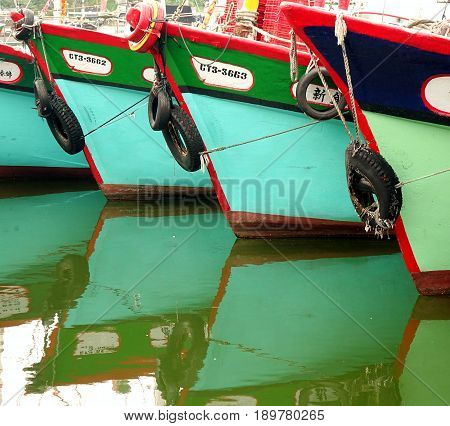 A Row Of Traditional Fishing Boats