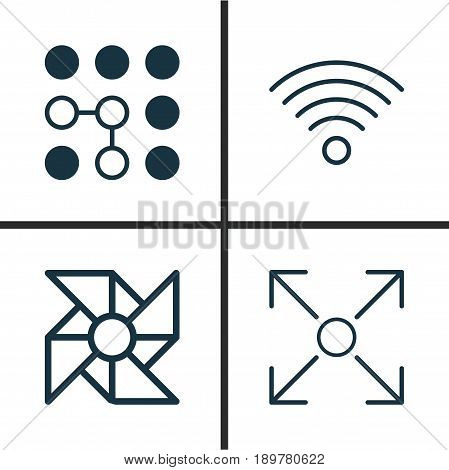 Icons Set. Collection Of Computing Problems, Branching Program, Wireless Communications And Other Elements. Also Includes Symbols Such As Wireless, Wifi, Algorithm.