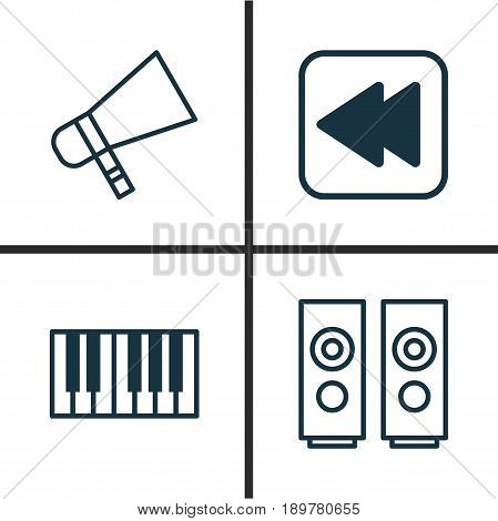 Music Icons Set. Collection Of Bullhorn, Piano, Sound Box And Other Elements. Also Includes Symbols Such As Synthesizer, Hailer, Megaphone.