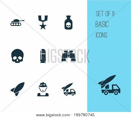 Battle Icons Set. Collection Of Cranium, Danger, Glass And Other Elements. Also Includes Symbols Such As Head, Rockets, Order.