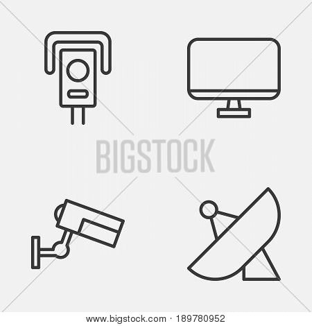 Icons Set. Collection Of Antenna, Security Camera, Computer Monitor And Other Elements. Also Includes Symbols Such As Screen, Control, Sputnik.