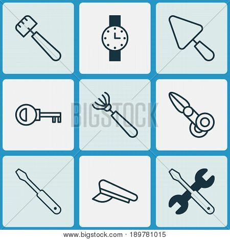 Equipment Icons Set. Collection Of Putty, Screwdriver With Wrench, Timer And Other Elements. Also Includes Symbols Such As Pitchfork, Cap, Watch.