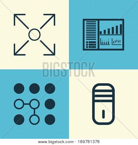 Learning Icons Set. Collection Of Branching Program, Mainframe, Computing Problems And Other Elements. Also Includes Symbols Such As Control, Panel, Microprocessor.