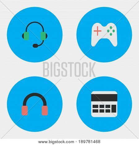 Vector Illustration Set Of Simple Devices Icons. Elements Accounting, Microphone, Headphone And Other Synonyms Joystick, Earphone And Microphone.