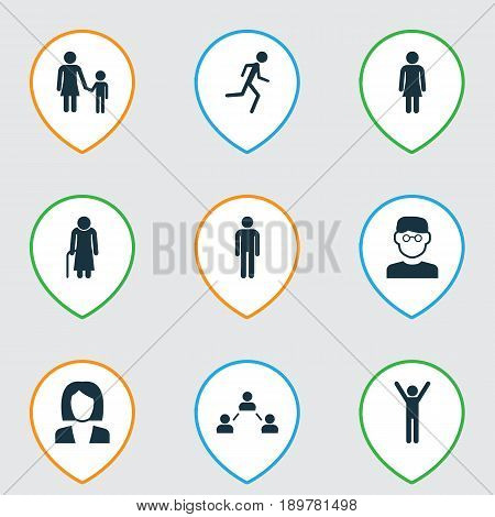 People Icons Set. Collection Of Happy, Running, Female And Other Elements. Also Includes Symbols Such As Jogging, Network, Scientist.