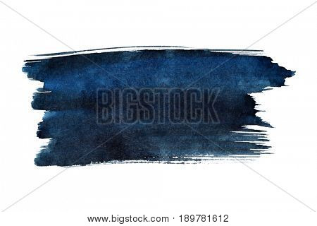 Blue brush stroke isolated on the white background. Space for a text