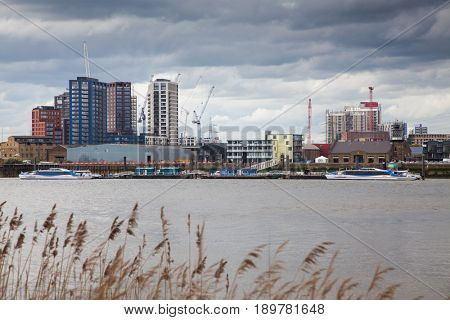 LONDON/UK - MAY 20 : Riverside apartment and business buildings in North Greenwich