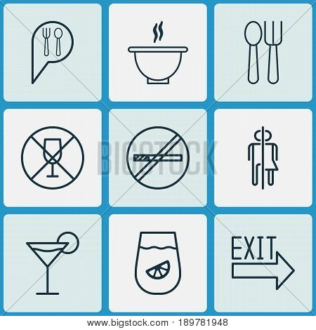 Cafe Icons Set. Collection Of Doorway, Alcohol Forbid, Stop Smoke And Other Elements. Also Includes Symbols Such As Fork, Restrict, Drinking.