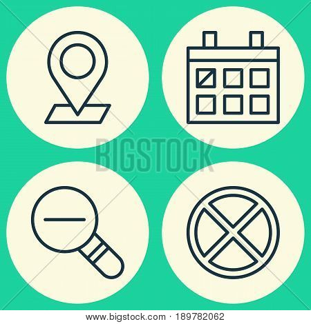 Web Icons Set. Collection Of Calendar, Zoom Out, Exit And Other Elements. Also Includes Symbols Such As Cancel, Out, Wrong.