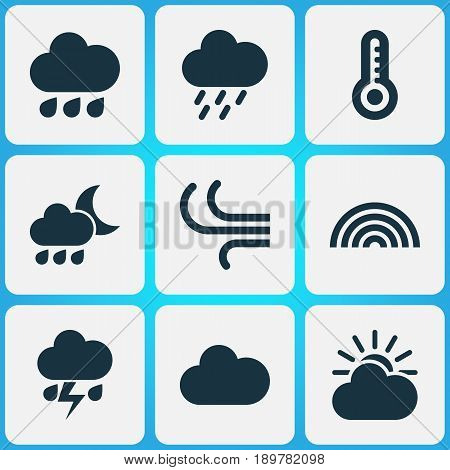 Weather Icons Set. Collection Of Rainy, Douche, Breeze And Other Elements. Also Includes Symbols Such As Sunlight, Temperature, Thermometer.