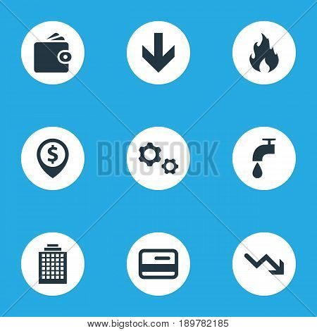 Vector Illustration Set Of Simple Impasse Icons. Elements Envoirement, Plastic Card, Atm Point And Other Synonyms Arrow, Card And Skyscraper.
