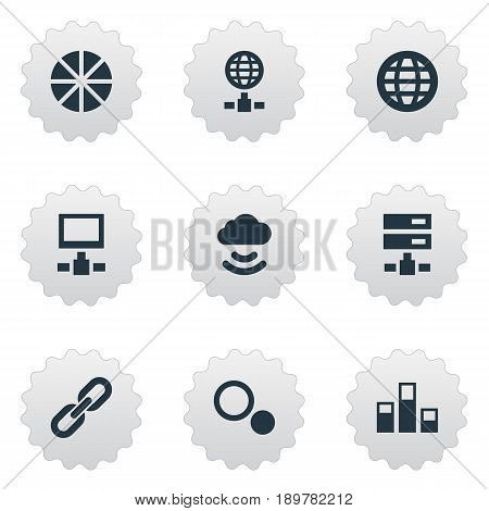 Vector Illustration Set Of Simple Information Icons. Elements Chain, Pie Chart, Statistics And Other Synonyms Segment, Earth And Cloud.