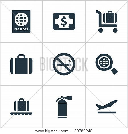 Vector Illustration Set Of Simple Airport Icons. Elements Takeoff, Certificate Of Citizenship, Baggage Cart And Other Synonyms Flight, Earth And Stop.