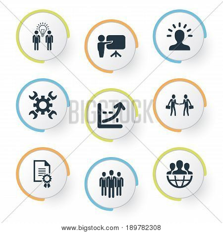 Vector Illustration Set Of Simple Business Icons. Elements Cooperation, Agreement, Staff And Other Synonyms Think, Mind And Industry.
