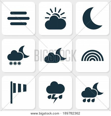 Air Icons Set. Collection Of Moonlight, Sun-Cloud, Haze And Other Elements. Also Includes Symbols Such As Sun, Flash, Moonlight.