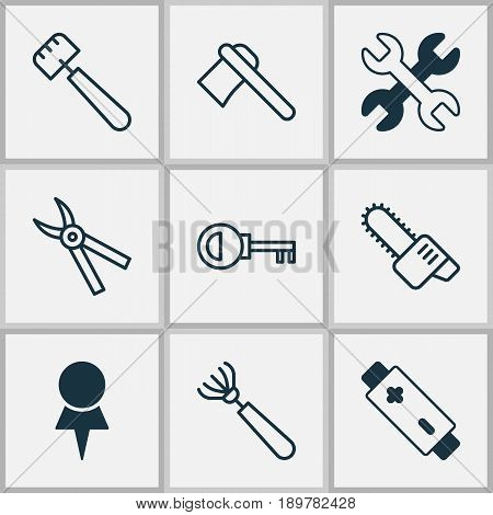 Equipment Icons Set. Collection Of Gasoline Cutter, Harrow, Password And Other Elements. Also Includes Symbols Such As Spud, Location, Chainsaw.
