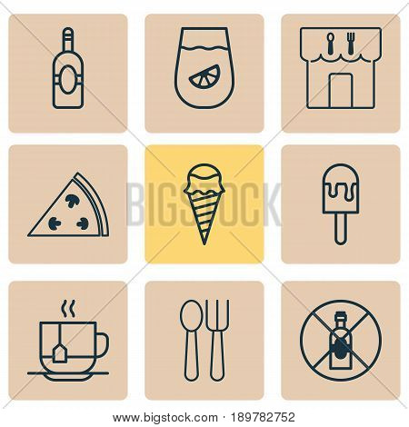 Icons Set. Collection Of Lemonade, Cutlery, Lolly And Other Elements. Also Includes Symbols Such As Dessert, Hooch, Hot.