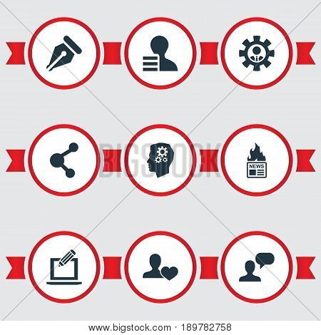 Vector Illustration Set Of Simple Blogging Icons. Elements Gazette, Developer, Innovation And Other Synonyms Network, Profit And Innovation.