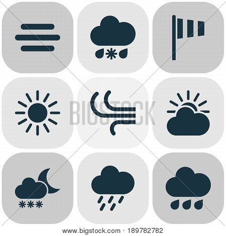 Weather Icons Set. Collection Of Douche, Haze, Sun-Cloud And Other Elements. Also Includes Symbols Such As Flag, Fog, Snow.