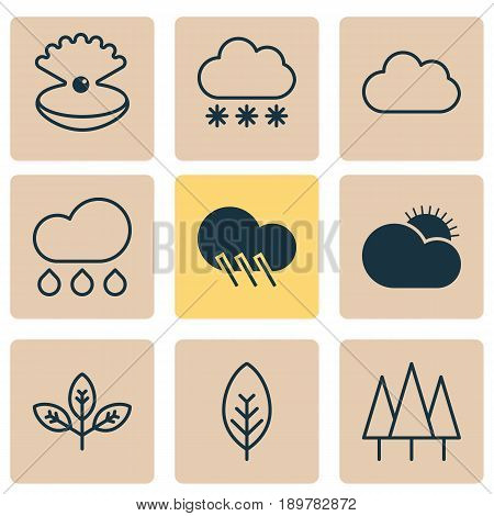 Harmony Icons Set. Collection Of Cloud, Forest, Sprout And Other Elements. Also Includes Symbols Such As Leaf, Weather, Foliage.