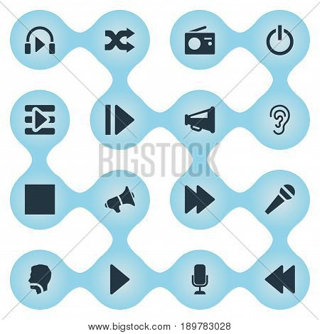 Vector Illustration Set Of Simple Music Icons. Elements Multimedia Buttons, Singing, Playback And Other Synonyms Voice, Ear And Speak.