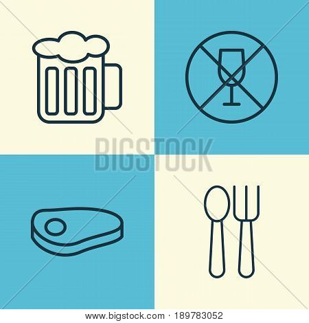 Cafe Icons Set. Collection Of Ale, Alcohol Forbid, Cutlery And Other Elements. Also Includes Symbols Such As Ale, Steak, Beer.