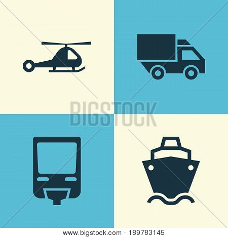 Shipment Icons Set. Collection Of Chopper, Tanker, Van And Other Elements. Also Includes Symbols Such As Airplane, Truck, Train.