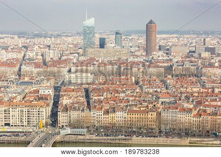 Aerial view of Lyon France from Notre Dame de Fourviere